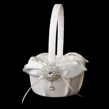 Flower Girl Basket 17 with Silver Clear Dangle Pear Brooch 3438