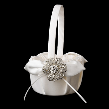 Flower Girl Basket 17 with Silver Clear Floral Ribbon Brooch 71
