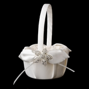 Flower Girl Basket 17 with Silver Clear Floral Starfish Brooch 3174