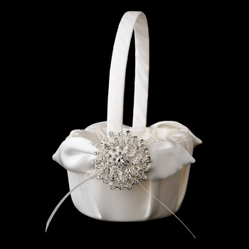 Flower Girl Basket 17 with Silver Clear Round Brooch 3171