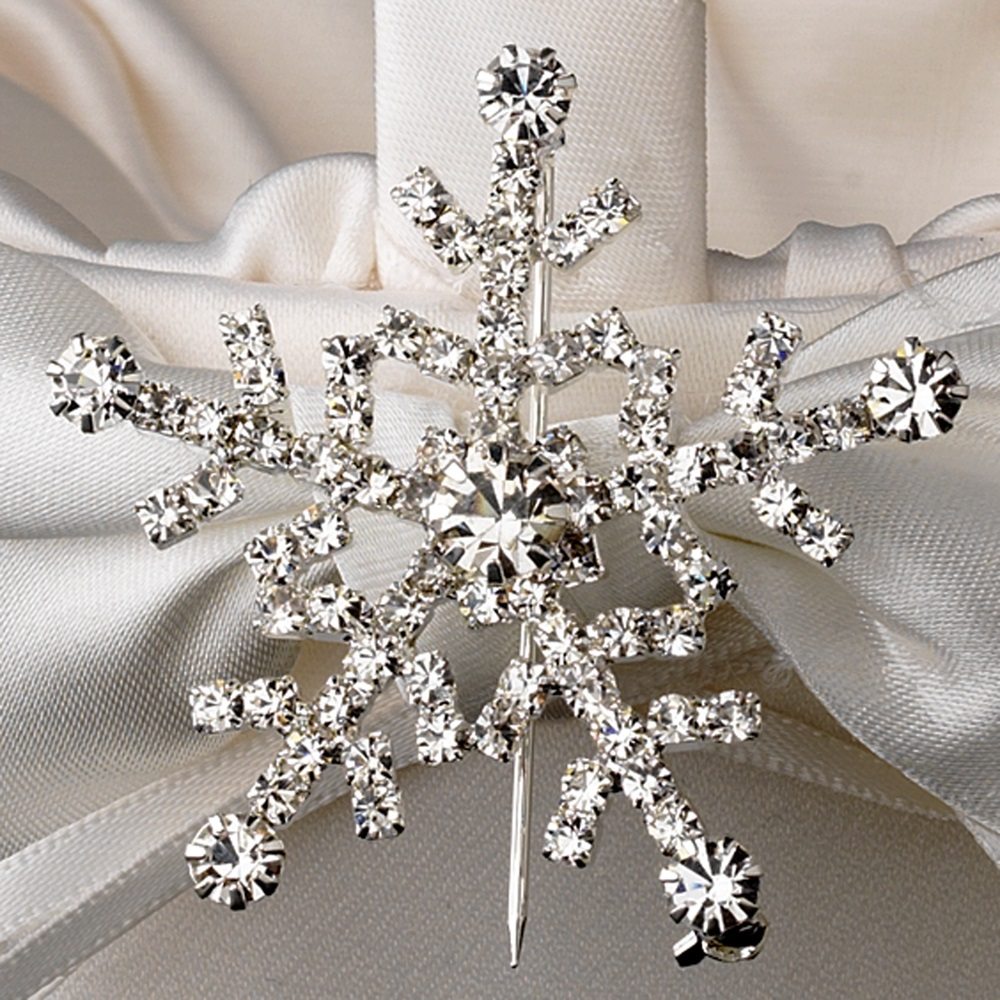 Flower girl basket 17 with silver clear winter snowflake brooch 30326 izmirmasajfo