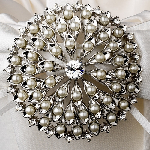 Flower Girl Basket 17 with Silver Ivory or White Pearl Lily Flower Brooch 65