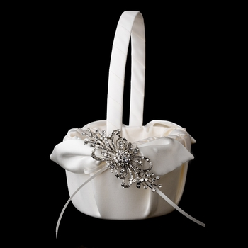 Flower Girl Basket 17 with Silver Rhinestone Ribbon Brooch 3268
