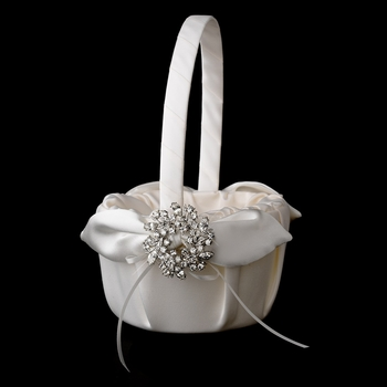 Flower Girl Basket 17 with Wreath Rhinestones Brooch 19