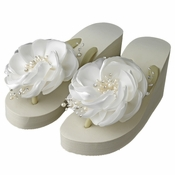 Flower High Wedge Flip Flops with Rhinestone & Freshwater Pearl Accents