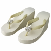 Flower Rhinestone High Wedge Flip Flops