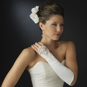 Fingerless Embellished Matt Silky Bridal Glove - GL  211 V