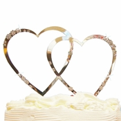 French Flower ~ Double Heart Crystal Accented Cake Topper