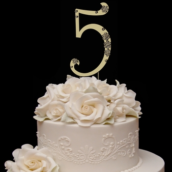 French Flower ~ Number Crystal Accented Cake Topper