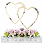French Flower ~ Swarovski Crystal Wedding Cake Topper ~ Double Large Gold Heart
