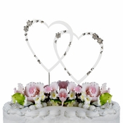 French Flower ~ Swarovski Crystal Wedding Cake Topper ~ Double Small Silver Heart