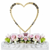 French Flower ~ Swarovski Crystal Wedding Cake Topper ~ Single Large Gold Heart