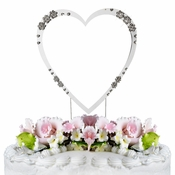 French Flower ~ Swarovski Crystal Wedding Cake Topper ~ Single Large Silver Heart