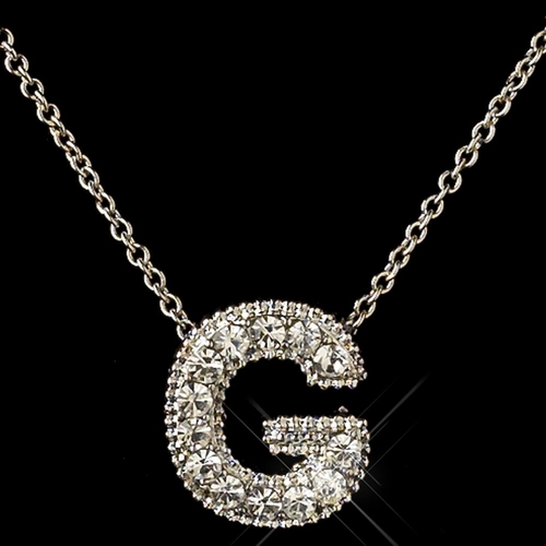 """""""G"""" Clear Rhinestone Letter Initial Pendant Necklace 1"""