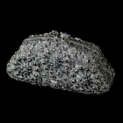 Glamorous Antique Silver Black & Grey Crystal Evening Hand Bag 13