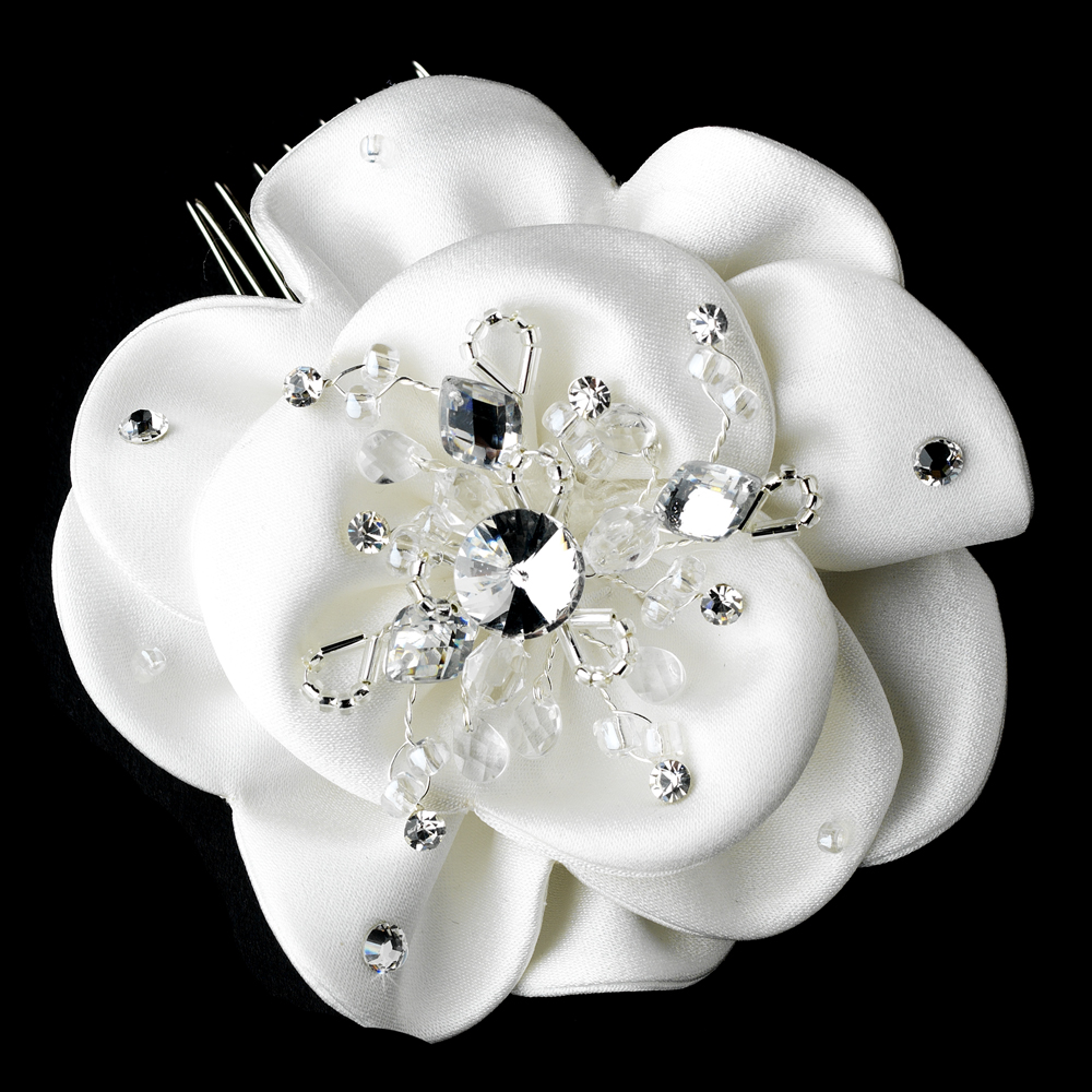 Elegant white fabric flower bridal hair comb with rhinestone glamorous bridal flower hair comb w clear rhinestones 8416 mightylinksfo