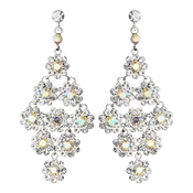 Glamorous Silver & AB Chandelier Earrings E 939