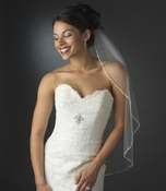 Glistening Faux Pearl & Bugle Bead Edge Veil in Elbow Length 113 also Cathedral Length