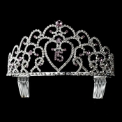 Glistening Quincea�era Sweet 15 Princess Tiara in Silver 252