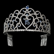 Glistening Quincea�era Sweet 15 Light Blue Princess Tiara in Silver 252