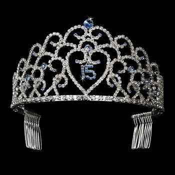 Glistening Quincea�era Sweet 15 Light Blue & Amethyst Stones  Princess Tiara in Silver 252