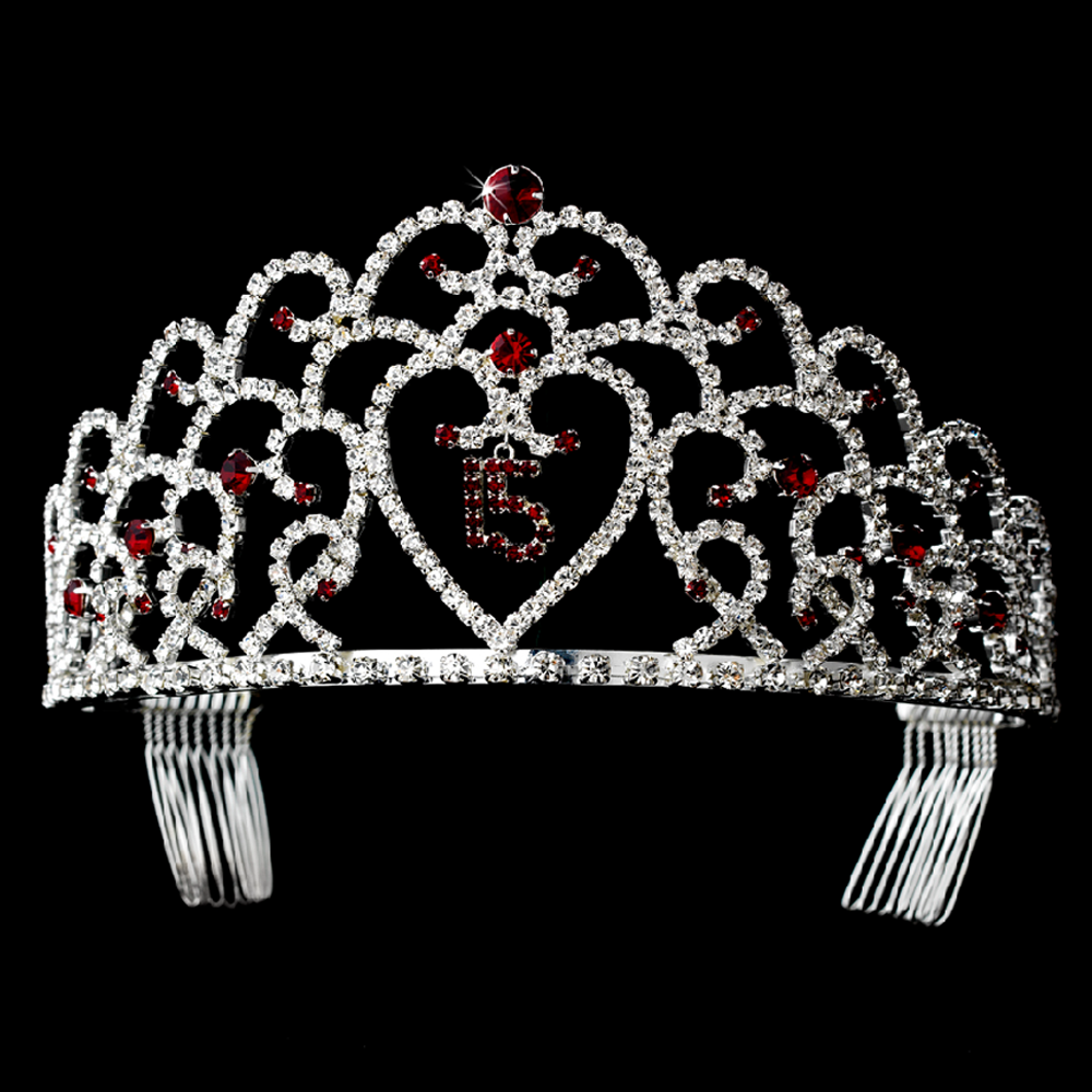 Glistening quinceañera sweet 15 red princess tiara in silver 252 pictured in burgundy