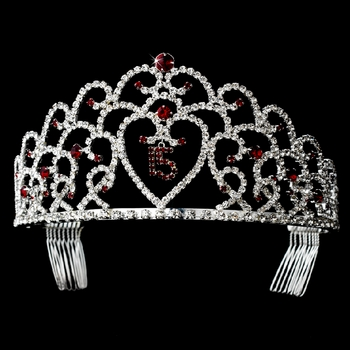 Glistening Quinceañera Sweet 15 Red Princess Tiara in Silver 252 **Pictured in Burgundy***