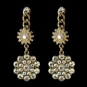 Gold AB Flower Rhinestone Dangle Bridal Wedding Earrings 82044
