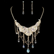 Gold AB & Light Topaz Crystal  Jewelry Set 6507
