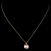 Gold AB Round Swarovski Crystal Element On Chain Necklace 9600