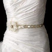 * Gold Accented Ivory Ribbon Belt or Headband 8531 with Feathers