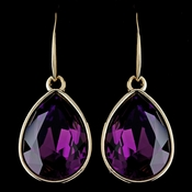 Gold Amethyst Swarovski Crystal Element Large Teardrop Hook Earrings 9604