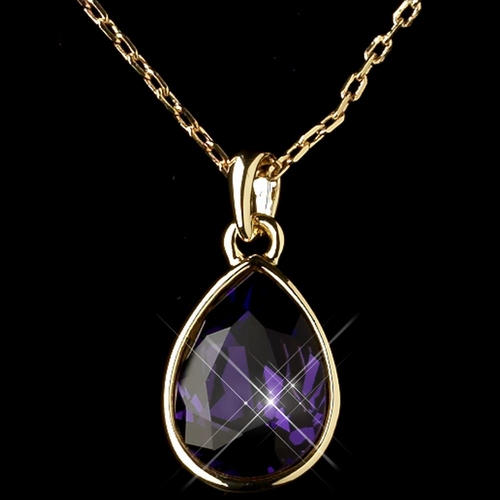 Gold Amethyst Swarovski Crystal Element Teardrop Pendant Necklace 9602