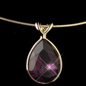 Gold Amethyst Swarovski Crystal On Wire Teardrop Pendant Necklace 9604