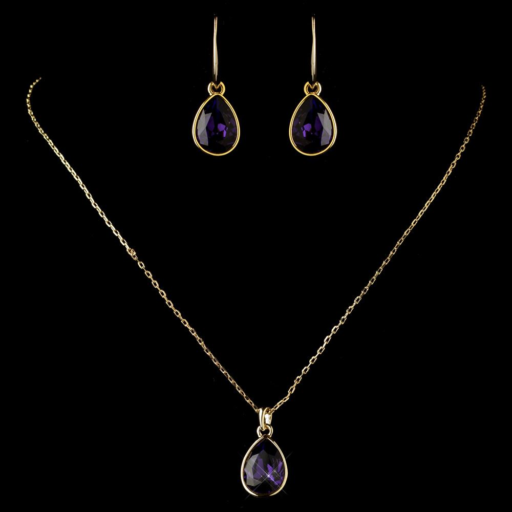 Gold Amethyst Teardrop Cz Crystal Necklace 9602 Earrings 9601 Jewelry Set
