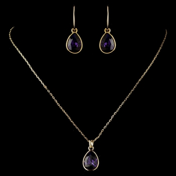 Gold Amethyst Teardrop CZ Crystal Necklace 9602 & Earrings 9601 Jewelry Set