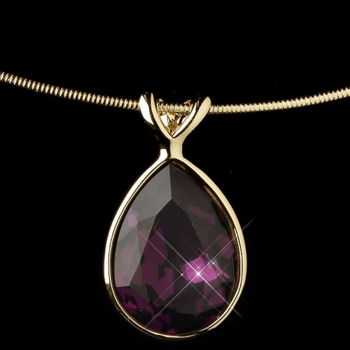 Gold Amethyst Teardrop Swarovski Element Crystal Jewelry Set 9604