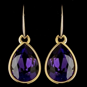 Gold Amethyst Velvet Swarovski Crystal Element Teardrop Dangle Hook Earrings 9601