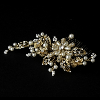 Gold and Ivory Pearl Bridal Comb 1643