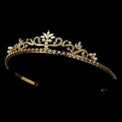Gold and Ivory Pearl Bridal Tiara HP 11109