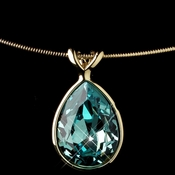 Gold Aqua Swarovski Crystal On Wire Teardrop Pendant Necklace 9604