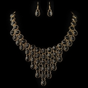 Gold Black Acrylic Stone Bib Fashion Jewelry Set 82027