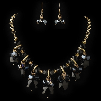 Gold Black Rondelle Crystal Beaded Fashion Jewelry Set 82047