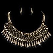 Gold Black Rondelle Crystal & Ivory Leather Fashion Jewelry Set