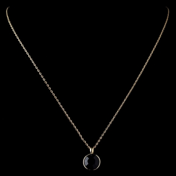 Gold Black Round Swarovski Crystal Element On Chain Necklace 9600