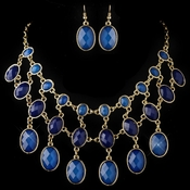 Gold Blue Acrylic Fashion Bib Style Jewelry Set 82032