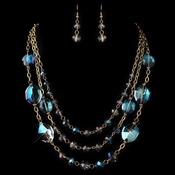 Gold Blue Rondelle Crystal Beaded  Fashion Jewelry Set 82048