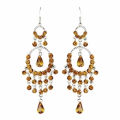 * Gold Brown Chandelier Earrings 801