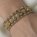 Gold Brown Multi Stretch Rhinestone Bracelet B 963