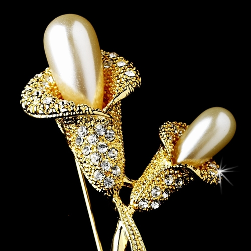 * Gold Calla Lilly with Ivory faux Pearls and Clear Rhinestones Brooch 70
